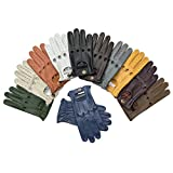 Slim Fit Retro Style Soft Real Leather Men's Driving Gloves Unlined Chauffeur 507 (RED, L)