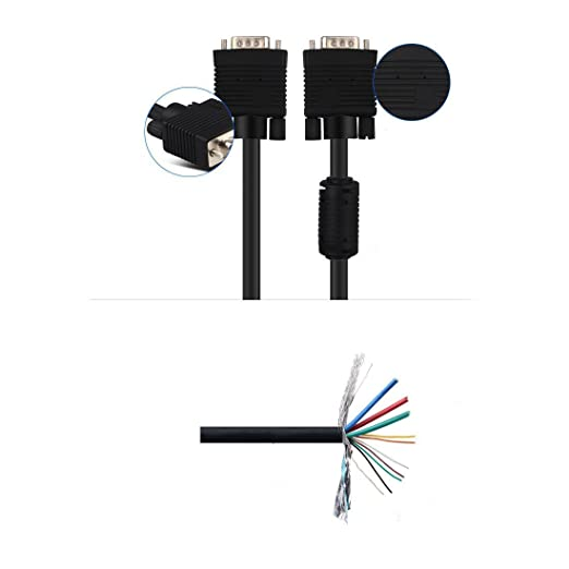 Amazon.com: eDealMax VGA DE 15 Pines adaptador M/M Cable de alambre DE 10 pies 3Meter Para PC portátil Monitor de proyector: Computers & Accessories