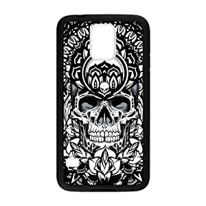 Hoomin Cool Black And White Mandala Skull Art Samsung Galaxy S5 Cell Phone Cases Cover Popular Gifts(Laster Technology)