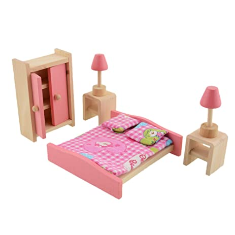 kids dollhouse furniture. Wooden Dollhouse Furniture Set Miniature For Kids Child Play Toy Children Gifts (Bedroom) T