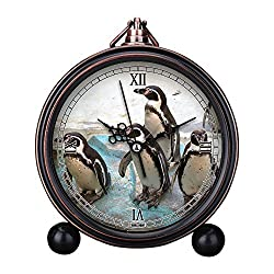Vintage Retro Living Room Decorative Non-ticking, HD Glass Lens, Easy to Read, Quartz, Analog Large Numerals Bedside Table Desk Alarm Clock-181.Humboldt Penguin