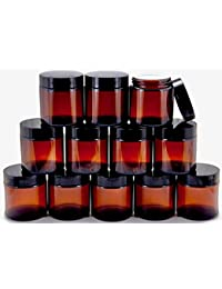 12, Amber, 4 oz, Round Glass Jars, with Inner Liners and black Lids