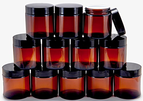 4 oz, Round Glass Jars, with Inner Liners and black Lids ()