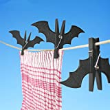 Katoot@ 2pcs/pack Plastic Bat Shape Clothes Pegs Clothespin Laundry Hangers Cool Batman Photo Paper Memo Note Card Clip for Home (Black)