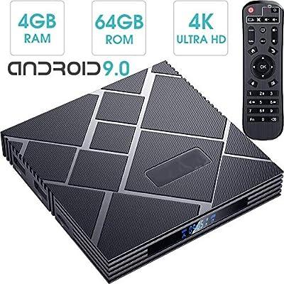 DOOK Android TV Box 9.0, 2019 El más Nuevo Android Box 4GB RAM 64GB ROM RK3318 Quad-Core 64Bits-A53 Smart TV Box, soporta 4K de resolución 3D 2.4GHz/5.0GHz WiFi Ethernet USB 3.0 Media