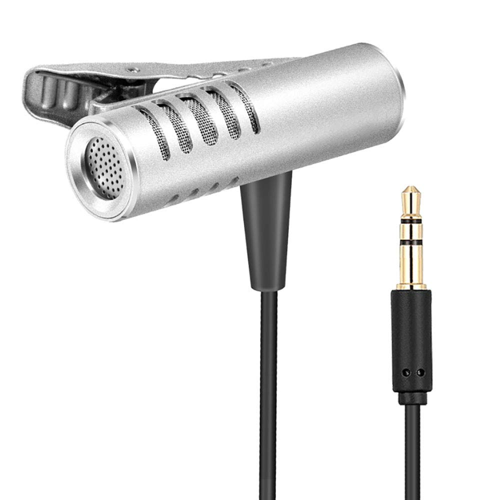 ZYG.GG Lavalier Microphone, Clip on Microphone 3.5Mm Lavalier Lapel Omnidirectional Condenser Microphone for Phone & Android Smartphones Or Any Other Mobile Device