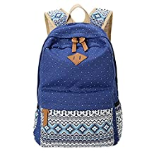 KISS GOLD(TM) Unisex Canvas 13-14 Inch Laptop Bag, Backpack, Schoolbag, Bohemia Style (Blue)