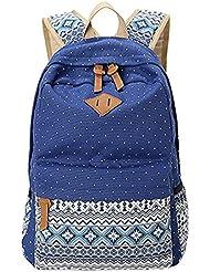 KISS GOLD(TM) Canvas Backpack Shoulder Bag Laptop Bag Super Cute Schoolbag for Women Teen Young Girls