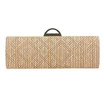 Fawziya Natural Straw Handbag Clutch Purses For Women Evening Gold