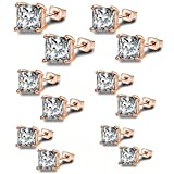 Anni Coco Rose Gold Plated Stainless Steel Square Princess Cut Clear CZ Stud Earrings Set,3mm-8mm 6 Pairs