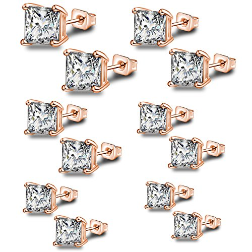 Anni Coco Rose Gold Plated Stainless Steel Square Princess Cut Clear CZ Stud Earrings Set,3mm-8mm 6 (0.25 Ct Gems)