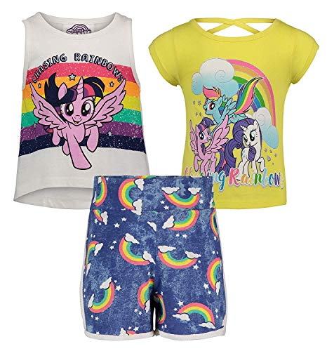 (944683MYT) My Little Pony Chasing Rainbows 3 Piece Tank, Tee and Short Set in My Little Pony, 4T