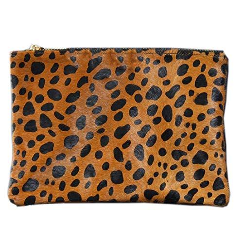 (100% Real Leather Horsehide Fur Pony Hair Envelope Clutch Pouch Handbag LEOPARD)