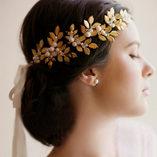 Pavian Wedding Bridal Hair Olive Branch Hot Golden Tiaras Crowns Leaf Hair Goddess (Olive Golden Branch)
