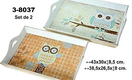 DonRegaloWeb DRW - Set de 2 bandejas de Madera Blancas con búhos 43x30x8,5 cm