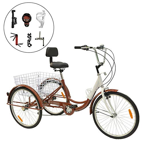 Barbella Single and 7 Speed Adult Tricycle Three-Wheeled Bicycle with Cipher Lock, Bike Pump, Assembly Tools and Instructions to Facilitate Your Assemble 24-Inch Bicyle (7 Speed Brown)
