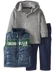 Calvin Klein卡文克莱Vest With Gray Hooded Tee And Pant 男宝秋冬保暖三件套$13.9