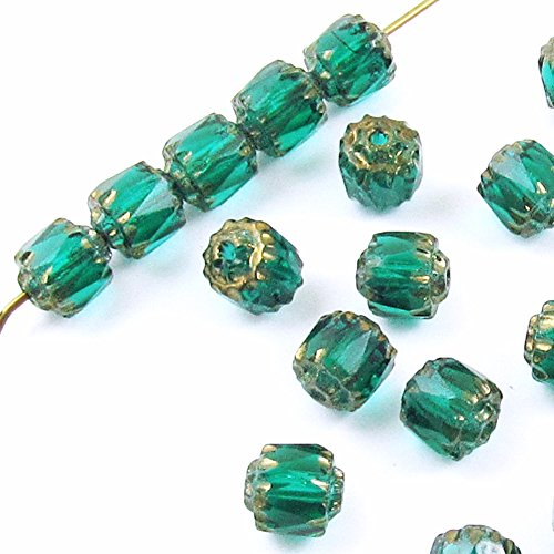 Faceted Czech Crown Cathedral Beads-TEAL GREEN 6mm (25)