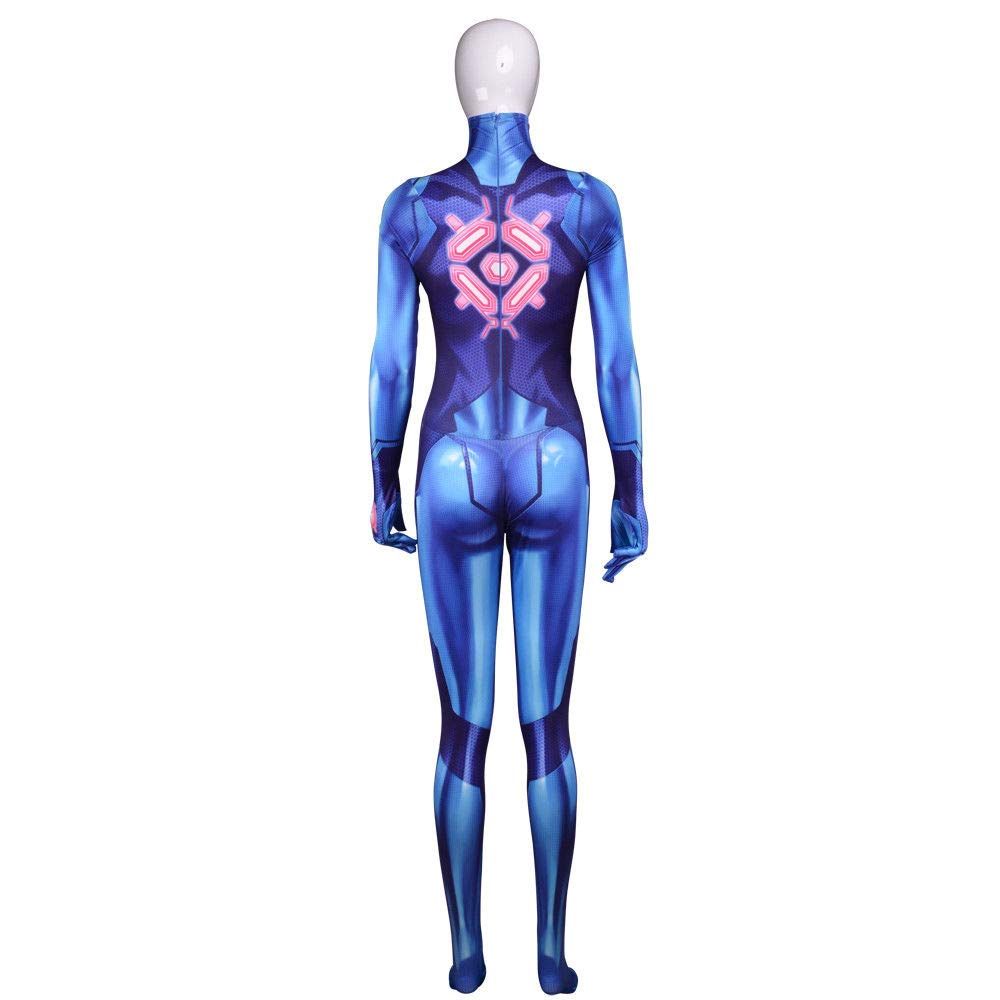 Qfyzyz Samus Aran Costume Printing Lycra Spandex Bodysuit
