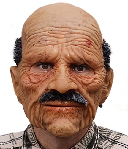Zagone Bad Geezer Mask, Old Balding Man, Mustache, Supersoft (Old Person Halloween Costume)