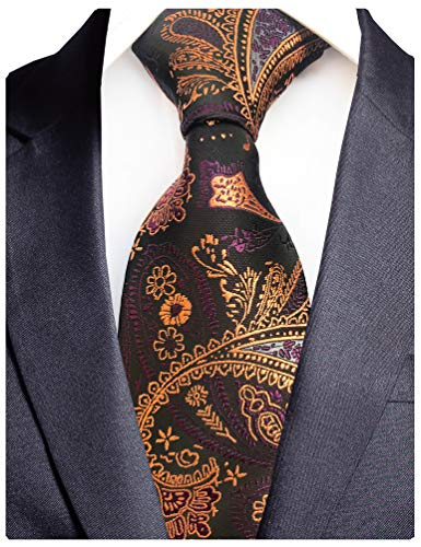 GUSLESON Brand New Gold Purple Paisley Ties Mens Silk Necktie for Wedding - Tie Silk Paisley Gold