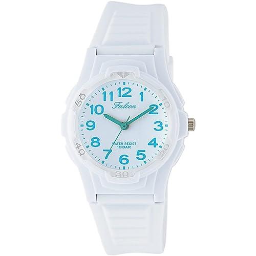 [シチズン キューアンドキュー]CITIZEN Q&Q 腕時計 Falcon ファルコン アナログ表示 10気圧防水 ウレタンベルト ホワイト ライトブルー VS06-005