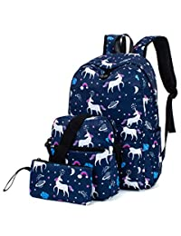 Leaper Unicorn Backpack for Girls Laptop Backpack School Bag Travel Daypack Bookbag Shoulder Bag Pencil Case Dark Blue