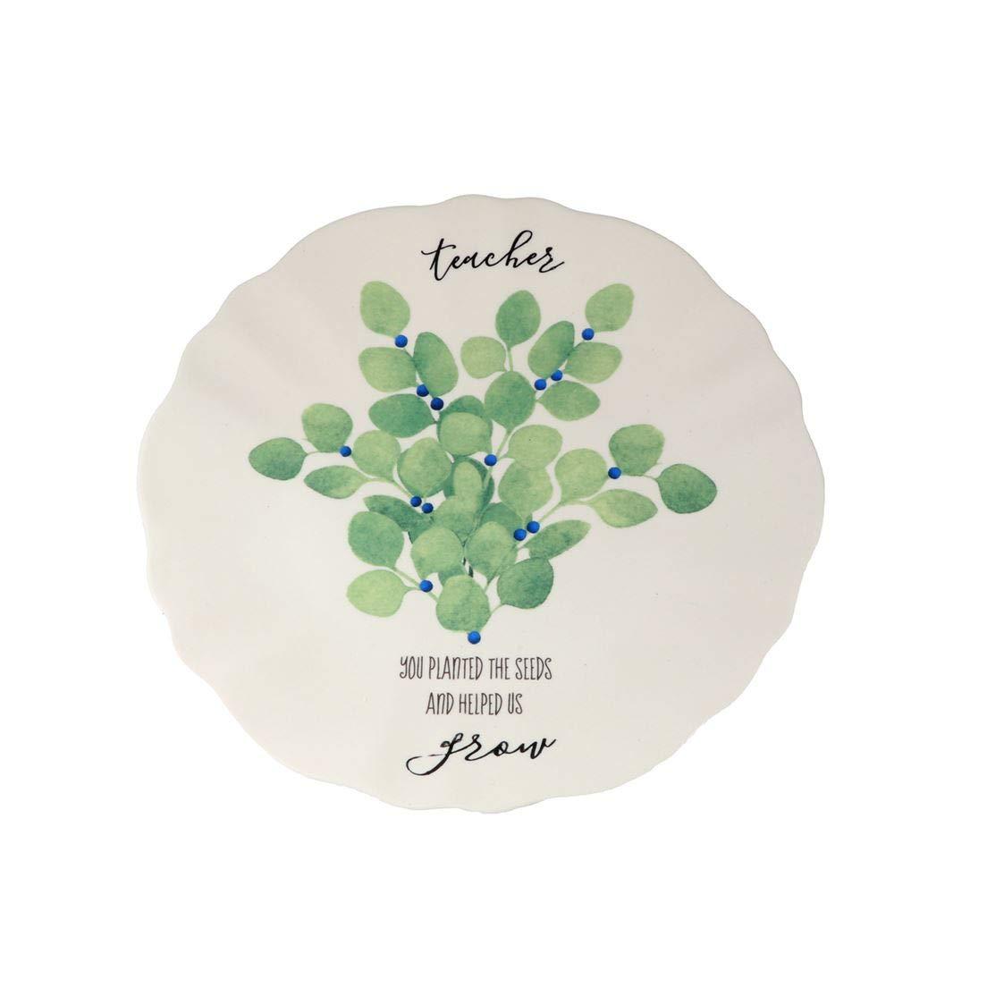 DEI 80829 Ceramic Plate 9.75 x 9.75 x 1.25 Green//White