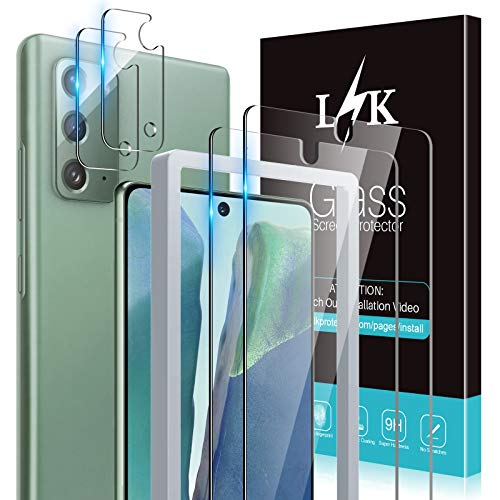 [2+2 Pack] LϟK 2 Pack Tempered Glass Screen Protector + 2 Pack Camera Lens Protector for Samsung Galaxy Note 20, [New Version] [Ultrasonic Fingerprint Supported]