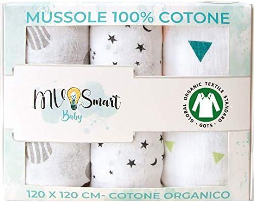 Mantas De Muselina Para Bebés 100% Algodón Orgánico, Envoltura 120x120 Cm - Manta Para Bebé, Grande, Suave, Unisex, Con Babero Como Regalo, Mv Smart Baby⭐: Amazon.es: Bebé