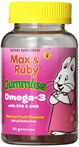 webber naturals Treehouse Kids Omega-3 Gummies Supplement, Green Apple/Orange-Peach/Strawberry-Banana, 60 Count (Pack of (Essential Greens Apple Banana)