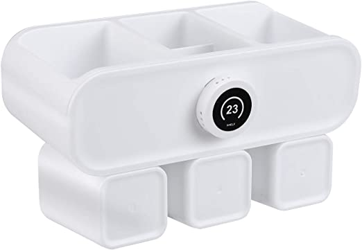 HOMFA Portacepillos de Dientes para 6 cepillos de Dientes con Estantes y Tazas de diente Conjunto de Organizador de Cepillo de Dientes en Pared Autoadhesivo Blanco