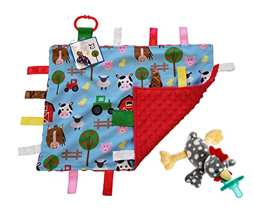 Lovey Baby Tag Minky Dot Blanket Bundle with Wubbanub Pacifier (Farm Animals Rocky Chicken)