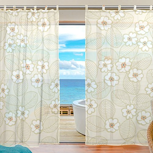 SUABO 2PCS Ultra Luxurious Window Gauze Curtains, Polyester Washable Sheer Window Curtain Panels for Bedroom Living Room 55