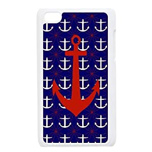 For IPod Touch 4th Anchor Stripe Print Pattern Protective Back Case-Style-13