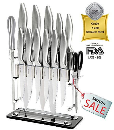 """Super Sharp!!! 14 Piece Stainless Steel kitchen Knife Block Set - 8"""" Chef, 8"""" Bread, 8"""" Carving, 5"""" Utility, 3½"""" Paring, 4½"""" Steak Knives, Scissors, Sharpener & Stand -The Best Gift, By Stone boomer"""