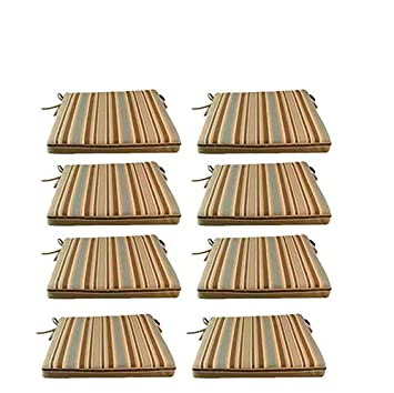 Edenjardi Pack 8 Cojines para sillas y sillones de jardín Color Lux Estampado a Rayas | Tamaño 44x44x5 cm | Repelente al Agua | Desenfundable | Portes ...