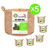 Scrafts Jute Grow Bags Round -Set Of 5-7 Gallons - 13x12 - Heavy Duty - Durable Handles all types Fruits, Flowers, Vegetables Decor Plants - Aeration Fabric - Eco Friendly