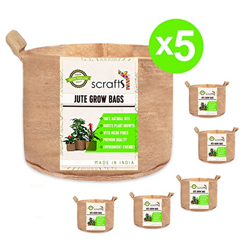 Scrafts Jute Grow Bags Round -Set of 5-10 Gallon - 15X13 - Heavy Duty - Durable - with Handles - for All Types of Fruits, Flowers, Vegetables and Decor Plants - Aeration Fabric - Eco Friendly by Scrafts