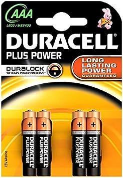 Batería Pila Mini capacitivo 1,5 V Alkaline AAA capacitivo Duracell Pack de 4 pilas: Amazon.es: Electrónica