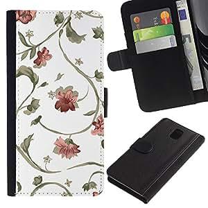 KingStore / Leather Etui en cuir / Samsung Galaxy Note 3 III / Dise?o floral Arte Wallpaper Flores blancos