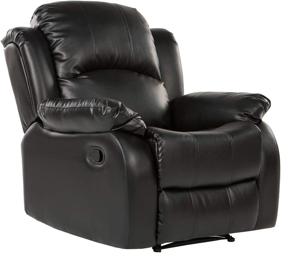 Divano Roma Furniture REC01-BLACK Furniture Bonded Leather Recliner Chair - Overstuffed, Black