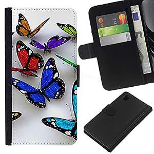 Planetar® Modelo colorido cuero carpeta tirón caso cubierta piel Holster Funda protección Para Sony Xperia Z1 L39 ( Butterfly 3D Naturaleza Blanca Limpieza de Primavera )