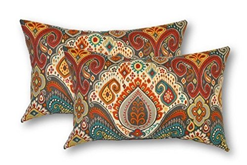 Set of 2 - Indoor / Outdoor Jumbo, Large, Over-sized, Rectangle / Lumbar Chaise Lounge Decorative Throw / Toss Pillows~Bohemian Retro Paisley~ Teal Orange Red (Bohemian Chaise Lounge)