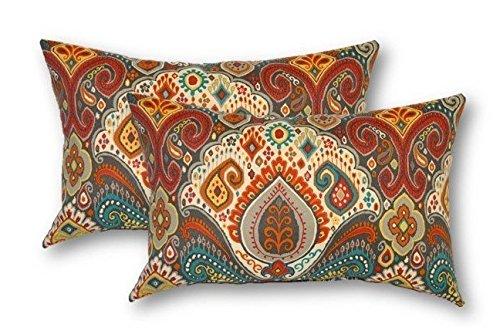 Set of 2 - Indoor / Outdoor Jumbo, Large, Over-sized, Rectangle / Lumbar Chaise Lounge Decorative Throw / Toss Pillows~Bohemian Retro Paisley~ Teal Orange -