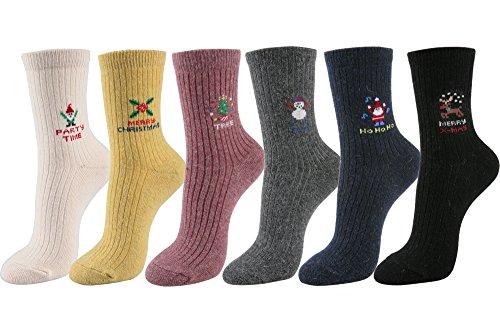 STYLEGAGA Women's Winter Wool Knit Casual Ankle Socks (One Size:Regular, Wool/Angora Merry Christmas-6Pair)