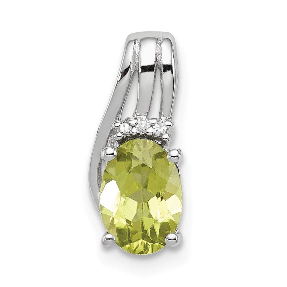 Sonia Jewels 925 Sterling Silver Diamond /& August Simulated Birthstone Green Simulated Peridot Oval Pendant 13mm x 6mm .01 cttw.