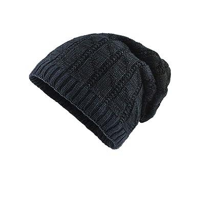81436d96c5b ... Peaked Beanie Cap Hat Unisex Winter Ear Flap Hats Caps Keep Warm Warm  Crochet Thicker Wool Knit Villus Beanie Skull Slouchy Caps Hat  Amazon.co.uk   ...