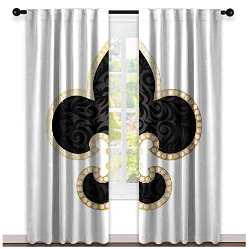 hengshu Fleur De Lis, Window Treatments Curtains Valance, Royal Legend Lily Throne France Empire Family Insignia of Knights Image, Curtains Kitchen Window, W108 x L108 Inch Black Gold White