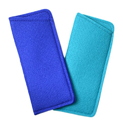 2 Pack Assortment Soft Felt Eyeglass Slip-In Cases Sapphire Blue & Turquoise